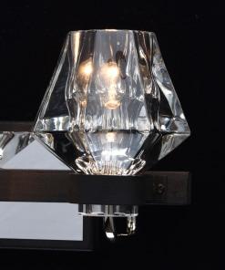 Sieninis modernus krištolinis šviestuvas su dvejomis lempomis RegenBogen