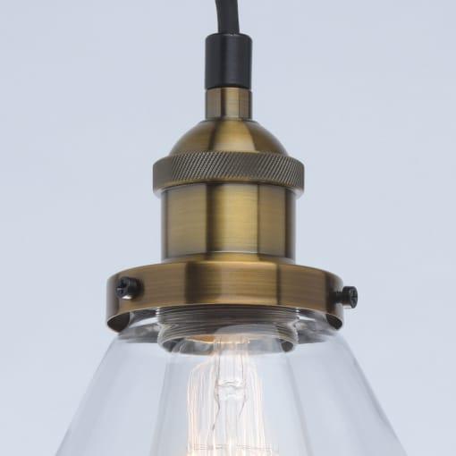 Industrinio stiliaus 5 lempų pakabinamas šviestuvas su skaidraus stiklo gaubtu