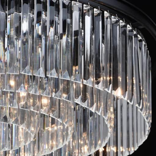 Juodo metalo ir krištolo didelis pakabinamas šviestuvas MW-LIGHT