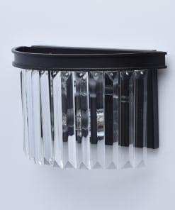 Juodo metalo ir krištolo sieninis šviestuvas MW-LIGHT