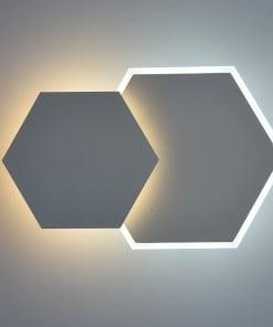 Atsparus drėmei šešiakampis sieninis LED šviestuvas DEMARK