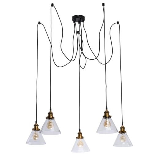 Industrinio stiliaus 5 lempų šviestuvas svetainei RegenBogen Fusion