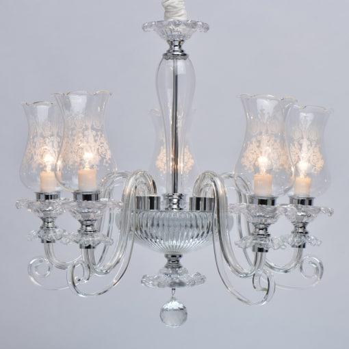 Stiklo ir chromo klasikinis pakabinamas šviestuvas MW-LIGHT