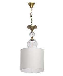 Pakabinamas šviestuvas su tekstiles gaubtu ir stiklo papuošimais CHIARO