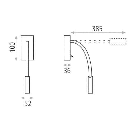 Modernus sieninis LED šviestuvas skaitymui ACB CIO