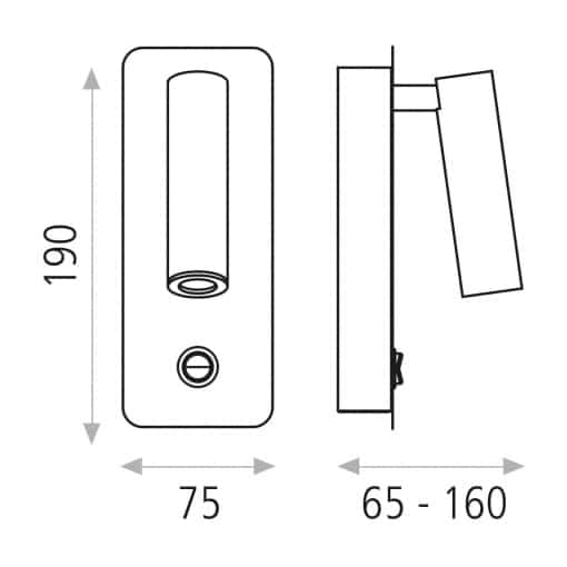 Modernus sieninis LED šviestuvas su reguliuojama galva ACB ARON