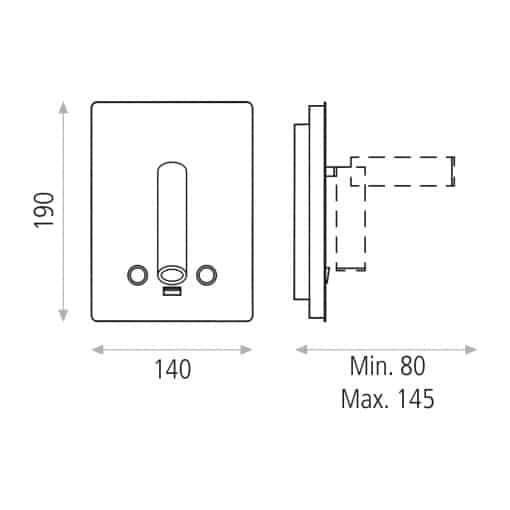 Sieninis šviestuvas skaitymui su USB jungtimi ACB MANAT