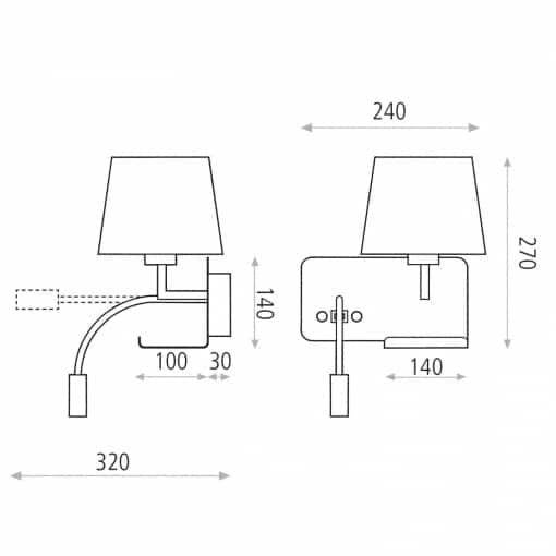 Sieninis šviestuvas skatymui su USB krovikliu ACB HOLD