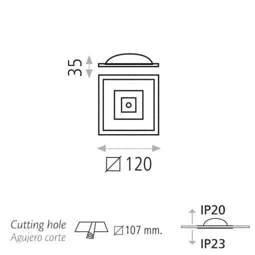 Kvadratinis įleidžiamas LED šviestuvas ACB REXA
