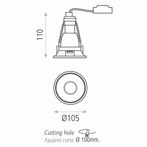 Įleidžiamas lubinis šviestuvas ACB APEX GU10