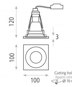 Įleidžiamas lubinis šviestuvas ACB KUBA