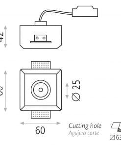 Priglaistomas kvadratinis šviestuvas ACB POINT GU10