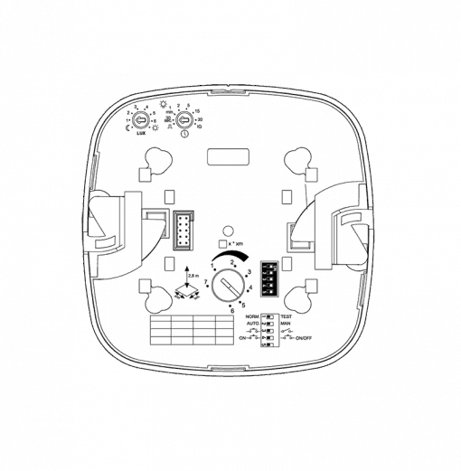 Įleidžiamas į lubas būvio jutiklis mažoms patalpoms IR QUATTRO COM1