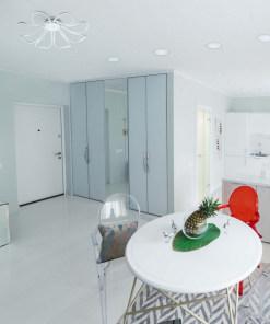 Apvali įleidžiama LED panelė DeMarkt TECHNO virtuvės ir valgomojo erdvėje