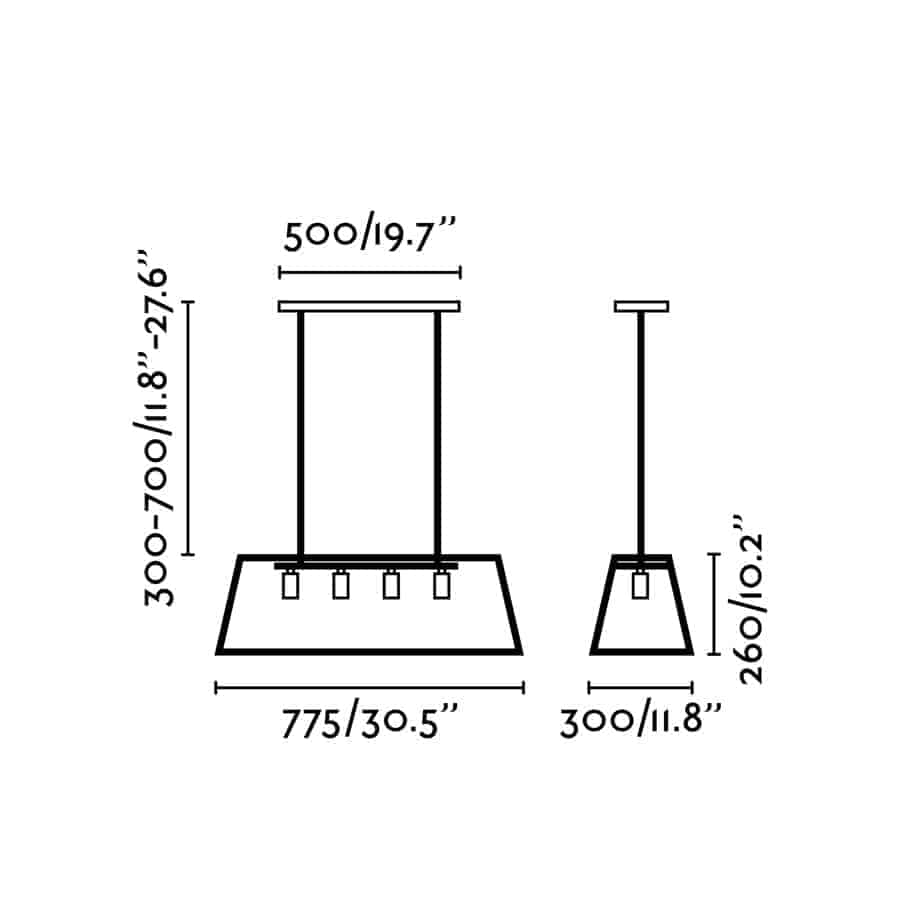 Raguliuojamo aukščio šviestuvas valgomajam stalui FARO ROSE4