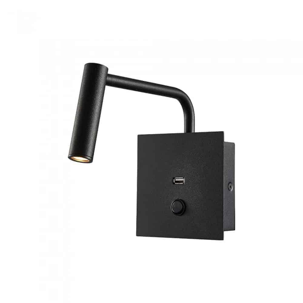 Sieninis šviestuvas miegamajam su USB V-TAC