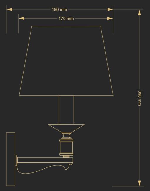 Sieninis šviestuvas su krištolo papuošimu KUTEK MERANO