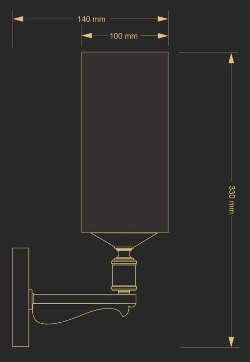 Sieninis šviestuvas su stiklo gaubtu KUETK MERANO