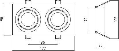 Dvigubas kvadratinis reguliujamas šviestuvas GTV MORENA