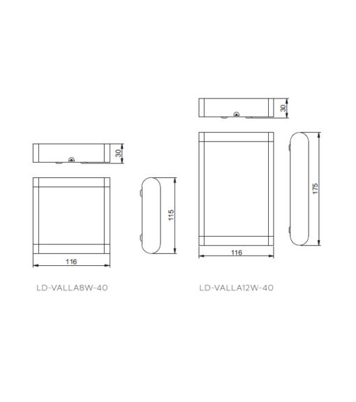 Modernus sieninis lauko šviestuvas GTV WALLA2