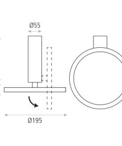 Modernus lubinis šviestuvas su kraipoma galva ACB MORGAN