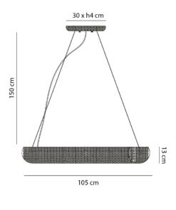 Žiedo formos šviestuvas su krištolu PALLERO AURORA
