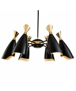 Juodas šviestuvas su aukso spalvos akcentais PALLERO SIMONE