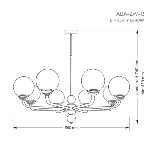 Sietynas KUTEK MOOD ABANO (8 stiklo gaubteliai)