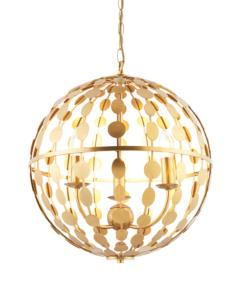 Pakabinamas apvalus šviestuvas su auksiniais lapeliais Endon ALVAH
