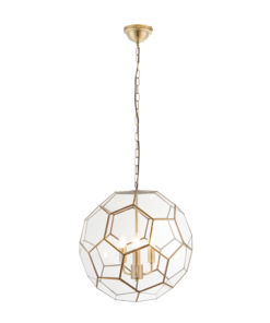 Pakabinamas trijų lempų šviestuvas su geometrinių formų gaubtu Endon MIELE