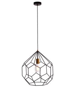 Pakabinamas matinis juodas geometrinių formų šviestuvas Endon DECO