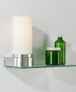 Sieninis balto stiklo šviestuvas su skaidraus stiklo lentynėle Endon TAL