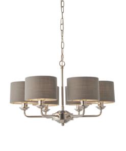 Pakabinamas šviestuvas su tamsaus lino gaubtais Endon HIGHCLERE