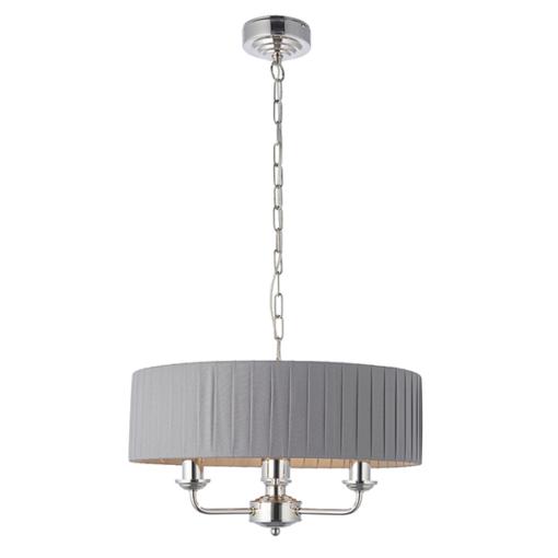 Pakabinamas trijų lempučių šviestuvas su dirbtinio šilko gaubtu Endon HIGHCLERE