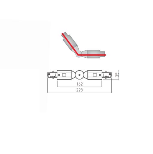 Reguliuojamo kampo sujungimas 4 šerdžių bėgeliui GTV X-RAIL
