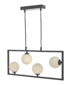 Pakabinamas šviestuvas su keturiais opalinio stiklo gaubtais Dar ENSIO