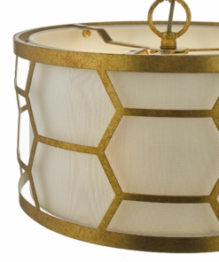 Pakabinamas būgno formos šviestuvas su aukso spalvos dekoracija Dar EPSTEIN