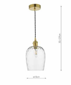 Pakabinamas šviestuvas stiklo gaubtu Dar HADANO