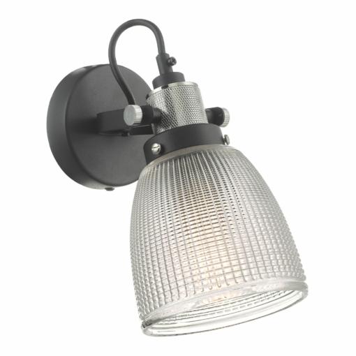 Sieninis šviestuvas su stikliniu gaubteliu Dar ISMET