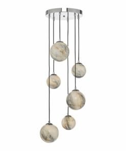 Pakabinamas šviestuvas su marmuro spalvos gaubteliais Dar MIKARA