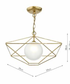 Pakabinamas sendinto aukso spalvos šviestuvas Dar ORSINI