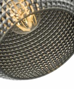 Pakabinamas šviestuvas su blizgiu tamsinto stiklo gaubtu Dar SOREN